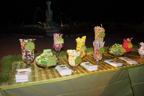 Dessert table at wedding with candy and popcorn