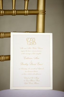 White stationery with gold invite script and monogram