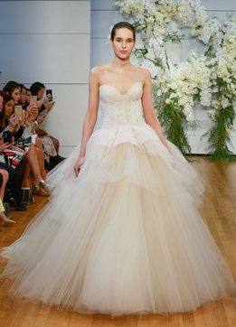 Monique Lhuillier Spring 2018 bridal collection Fleur wedding dress tulle sweetheart ball gown
