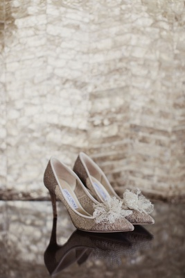 bridal wedding shoes lace jimmy choo heels with bow on toe elegant style