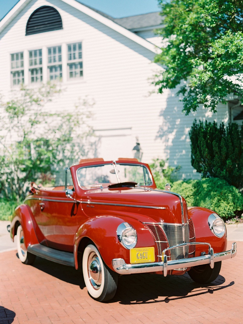 Wedding exit getaway car red 1940 Ford Deluxe car automobile restored antique vintage