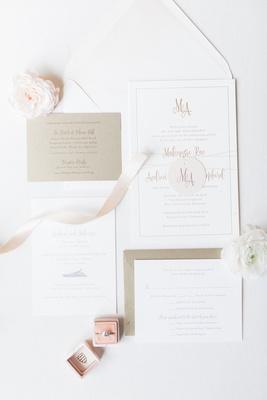 wedding invitation suite white gold details pink ring box velvet ribbons