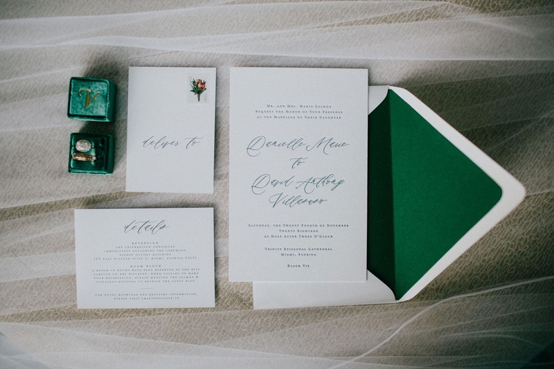wedding invitation suite emerald green envelope liner and calligraphy script for miami wedding