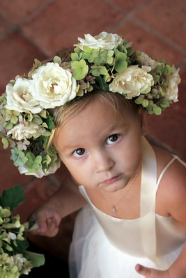 White and green flower crown