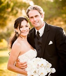 Bride and groom portrait photo bride in Romona Keveza strapless wedding dress