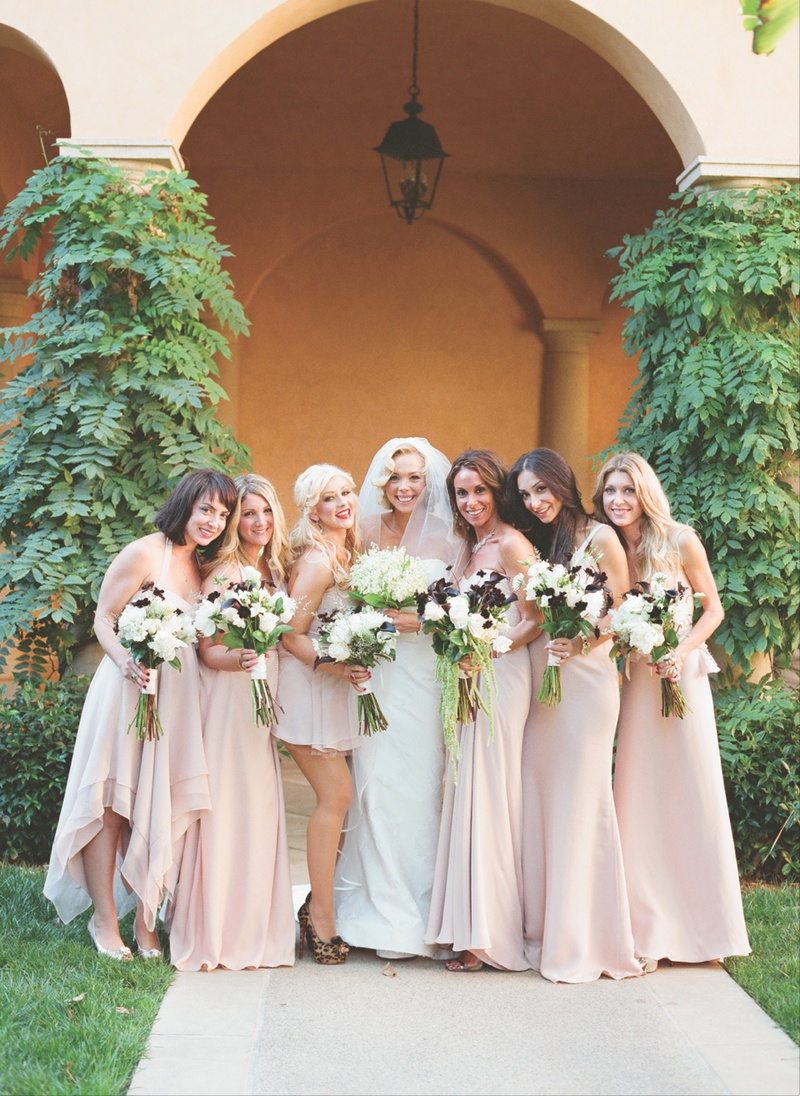Brides bridesmaids photos christina aguilera mismatched simone harouche in a carolina herrera gown bridesmaids in pale pink dresses and christina aguilera ombrellifo Choice Image