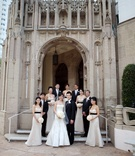 Bride and groom with their bridal party at Westwood United Methodist Church