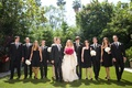 Black-and-white bridesmaid and groomsman outfits