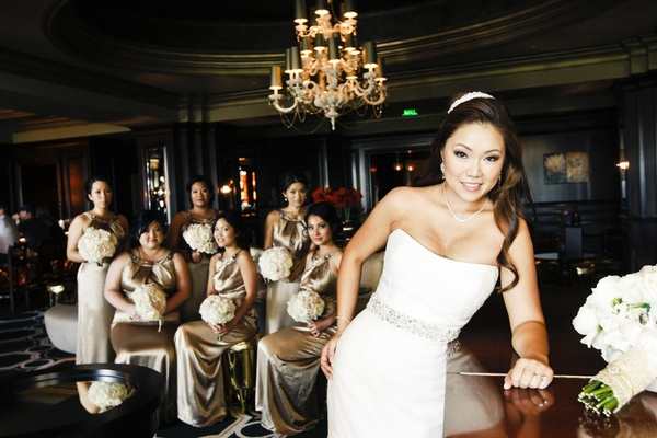 Asian American women in hotel lounge in scoop dresses