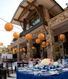 Mountain lodge wedding venue with orange paper lanterns
