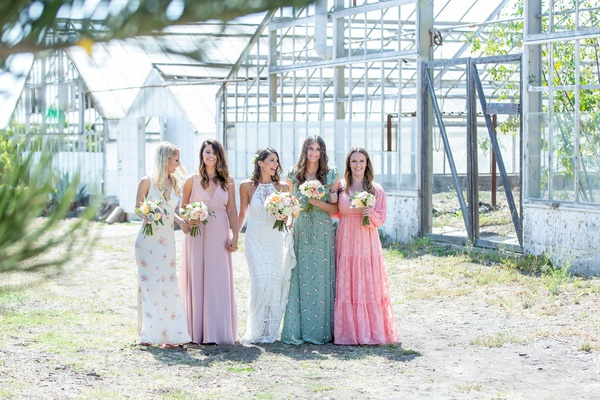 wedding ceremony santa barbara area rustic boho chic mismatched bridesmaid dresses pink green white