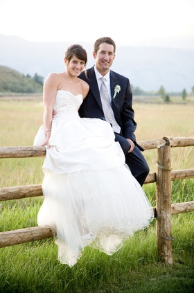 Bride in Hermès bridal gown with tulle underskirt