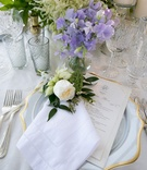 Monogram linen napkin embroidery white rose flower at each place setting light purple flowers menu