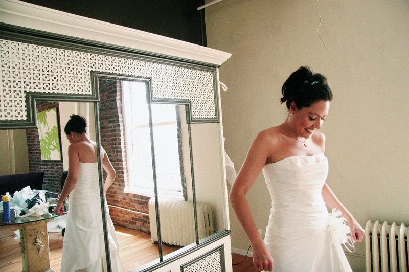 Cymbeline of Paris wedding dress in mirror