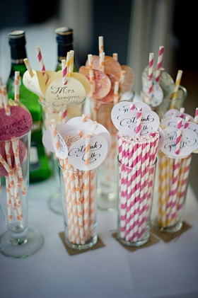 Custom calligraphy tags on paper drink straws