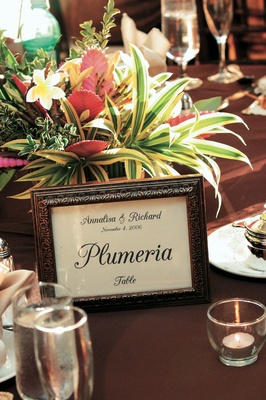 tropical flower centerpiece and framed flower table label