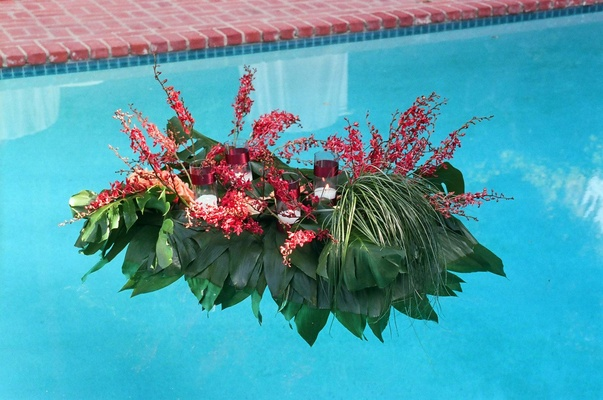 Red and green leaves and flowers float on pool