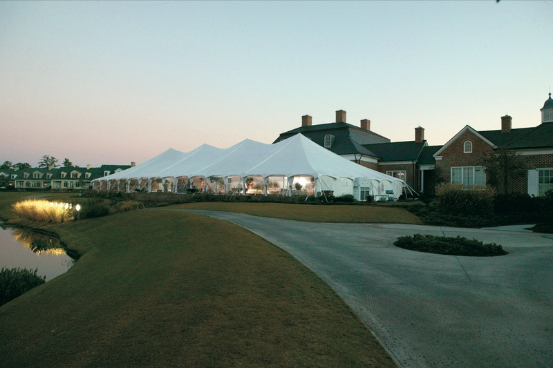Large tented wedding on golf course at Berkeley Hall Golf Club