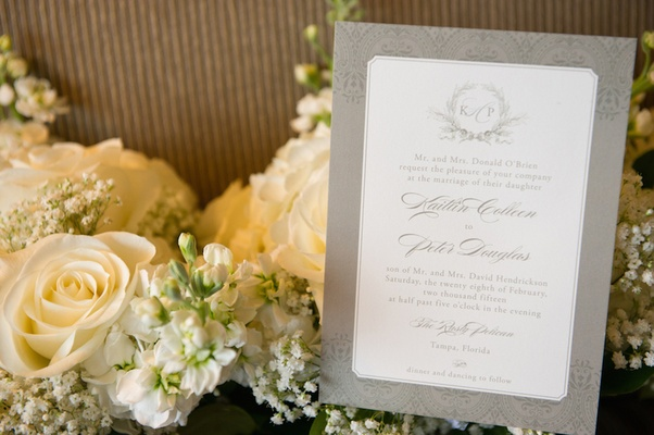 Wedding invite with gray border and Moroccan-style pattern