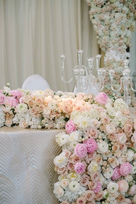 pink, peach, and white flowers form a floral runner