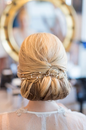 Wedding beauty shot blonde hairstyle jewel pearl band across