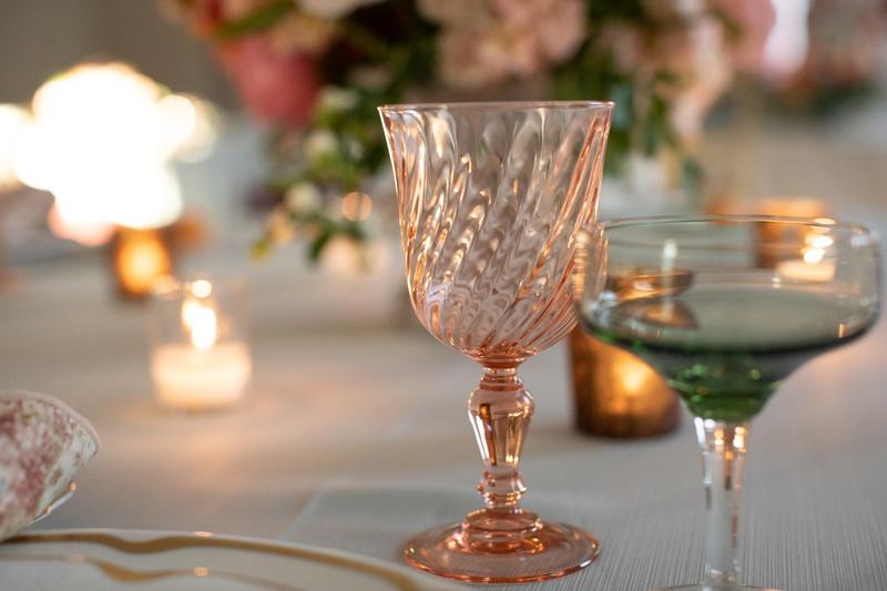 unique goblets for wedding reception, pale peach goblet for wedding reception