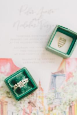 emerald green ring box princess cut engagement ring diamond band