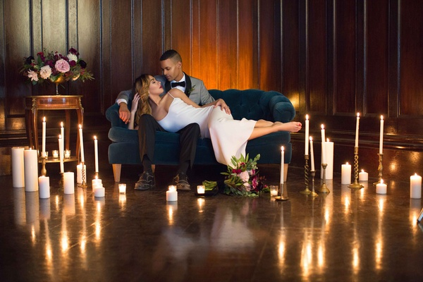 bride groom lounging candles styled shoot wedding after party sexy dress Valentina Kova honeymoon