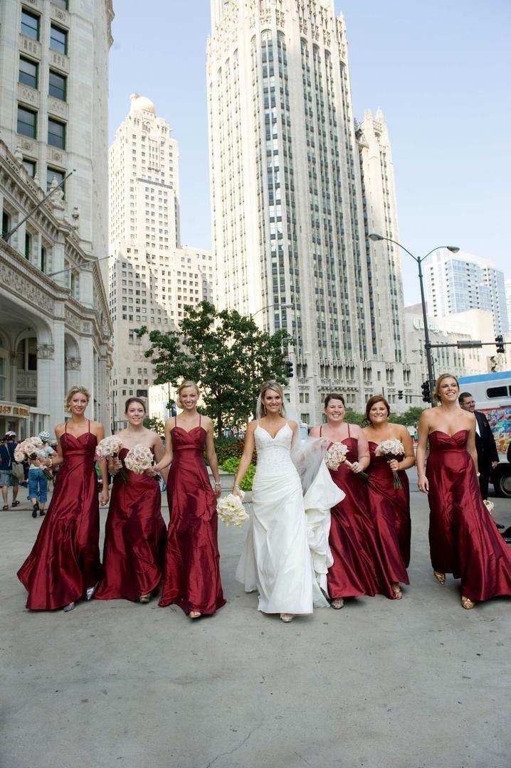 Brides Bridesmaids Photos Long Crimson Bridesmaid