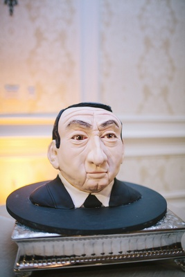 Bust cake of Coach Krzyzewski from Duke University