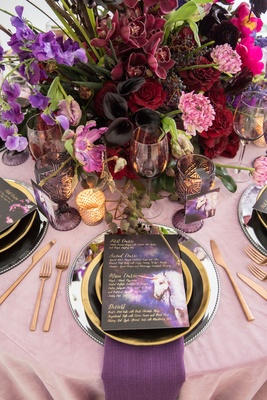 Wedding styled shoot blush purple napkins unicorn menu card red purple pink centerpiece flowers