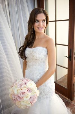 Wedding hair how to wear your hair down on the big day inside bride in strapless dress with long wedding hairstyle junglespirit Choice Image