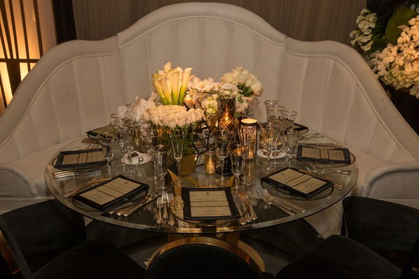 Wedding reception round table art deco design gatsby theme bench booth seating one half of table