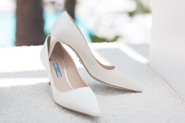 Simple wedding shoes prada pumps white bridal heels