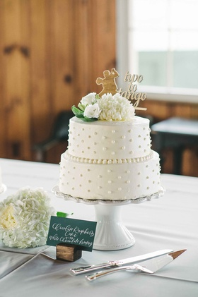 two tier cake two to tango topper white green beads icing dots simple maine wedding dessert cute