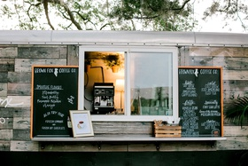 wedding reception outdoor mobile wood panel coffee bar food truck hot cold latte specialty smoothies