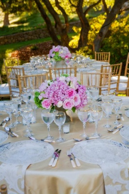Pink and green flowers with lace napkins