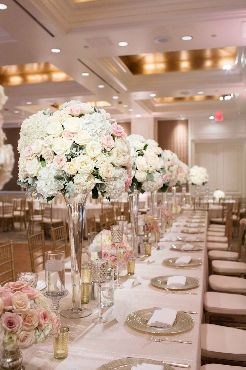 Reception Dcor Photos Tall Arrangements Glass Vases Long Tables