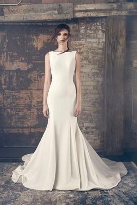 Sareh Nouri Fall 2018 wedding dress Elsa high boat neck bateau wedding dress trumpet fit flare