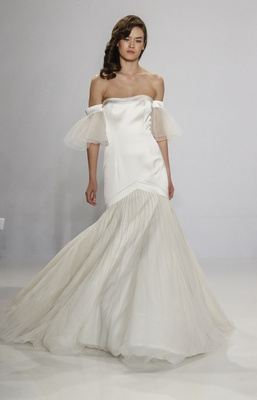 Christian Siriano for Kleinfeld Bridal off the shoulder wedding dress with embroidered skirt