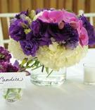 Floral vase place card holder and centerpiece