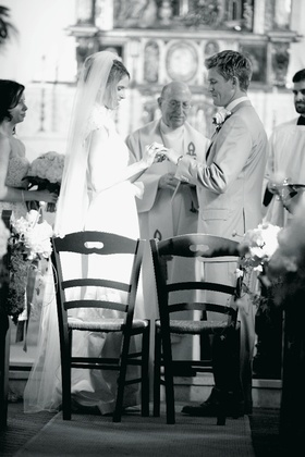 Black and white picture of Catholic church ceremony