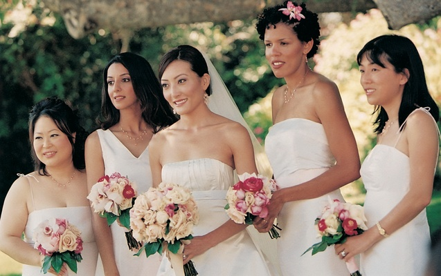 Varying bridesmaid gowns in same color
