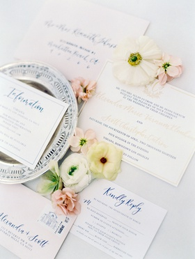 wedding invitation suite gold and royal blue calligraphy vibiana venue stamp information reply cards