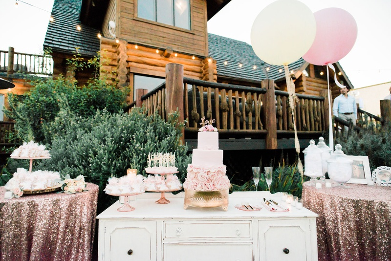 wedding cake pink rose flower base love cake topper cake pops donuts candy bar wedding reception