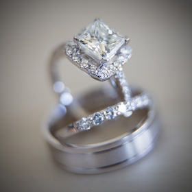 Marina Diamonds & Jewelry princess cut diamond engagement ring with halo and wedding bands