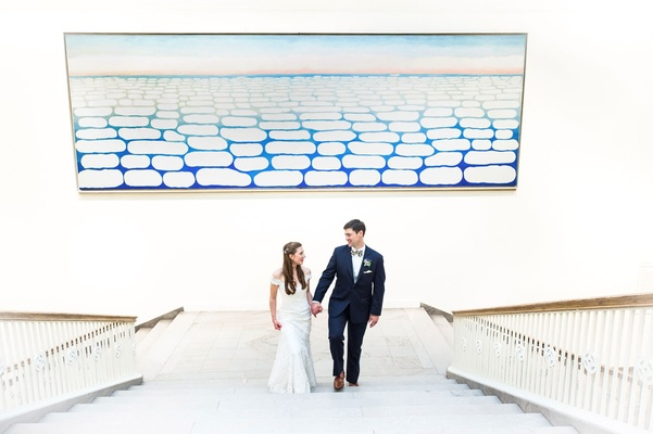 Wedding portrait at art institute of chicago wedding bride and groom romona keveza