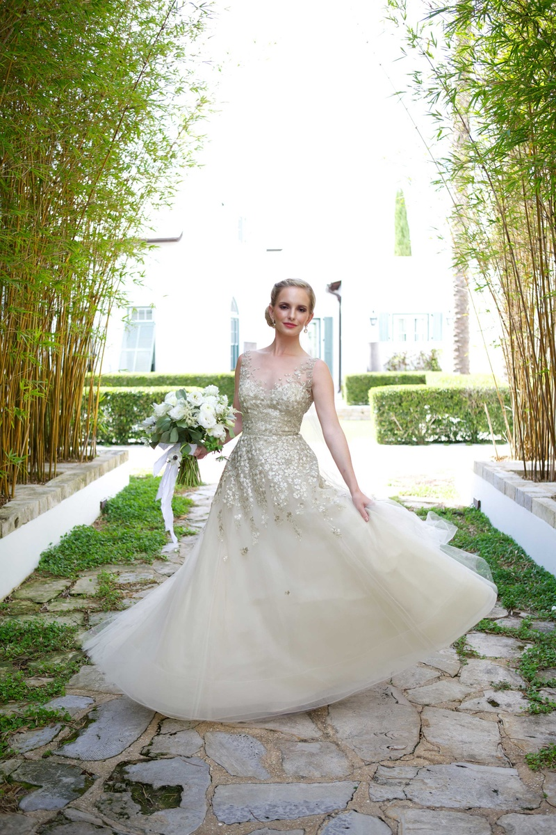 Champagne colored wedding dress pics