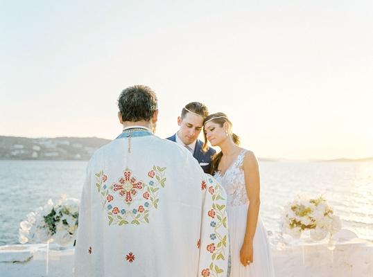 ocean view wedding ceremony mykonos greece destination wedding greek orthodox service