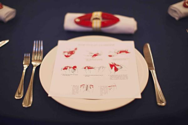 Nantucket lobster bake with instructional menu card